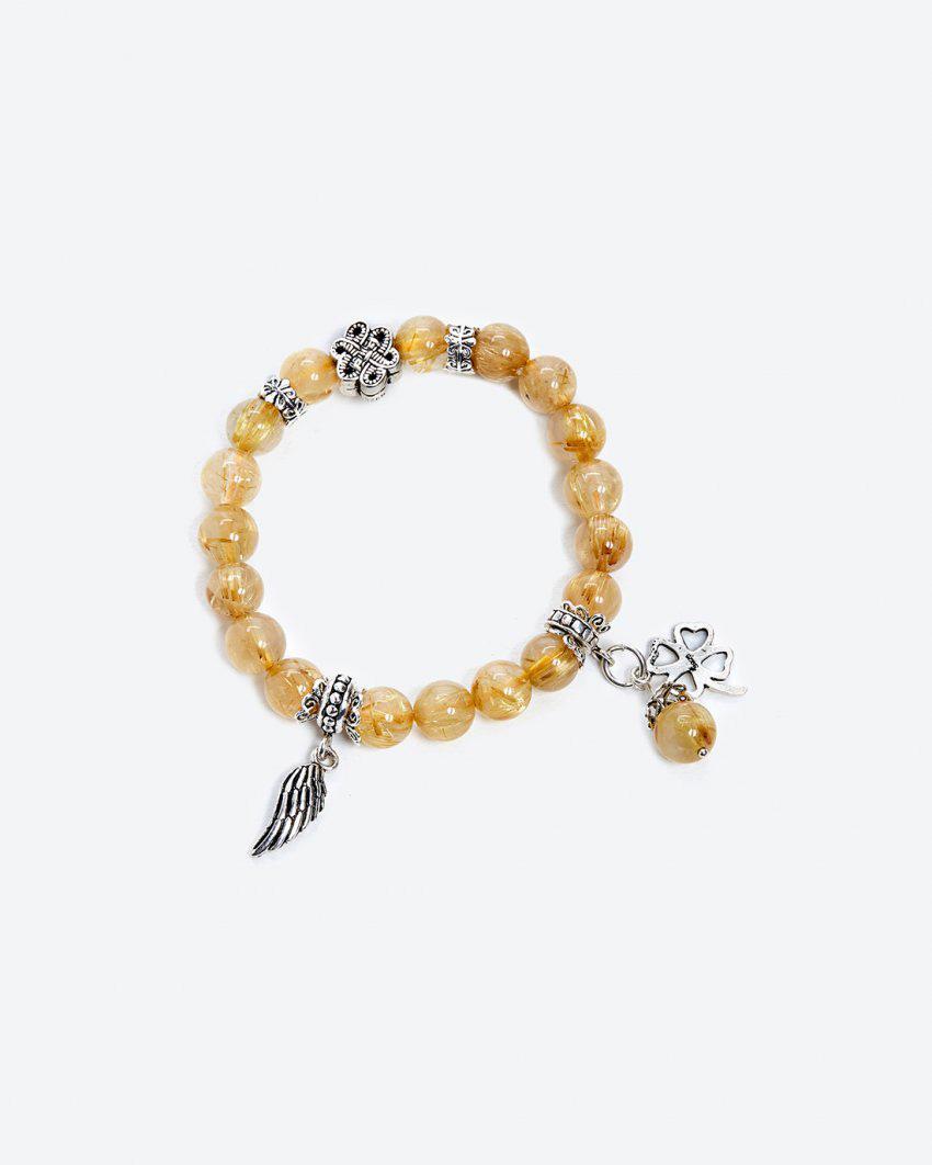 Vòng Tay Đá Thạch Anh Tóc Vàng Phối Cỏ 4 Lá Mệnh Kim,Thuỷ 8mm (màu vàng) - Ngọc Quý Gemstones