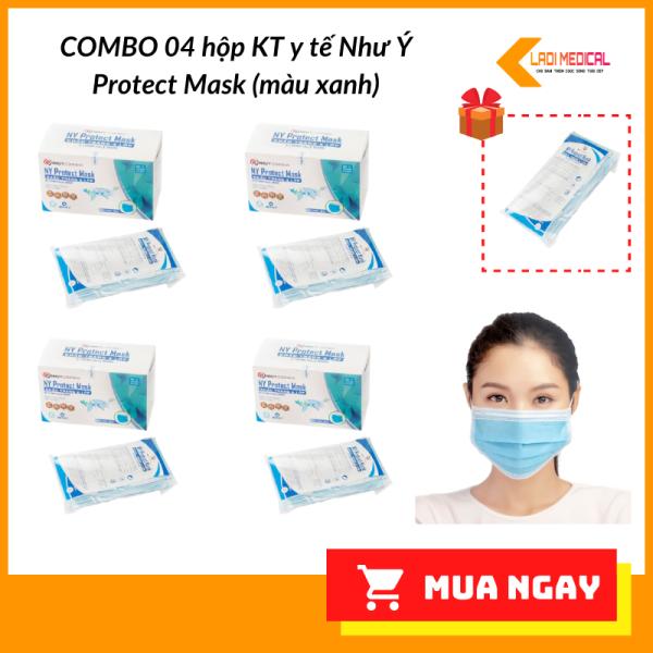 COMBO 4 Khẩu Trang Y Tế 4 Lớp Kháng Khuẩn Như Ý Protect Mask 50 cái/hộp