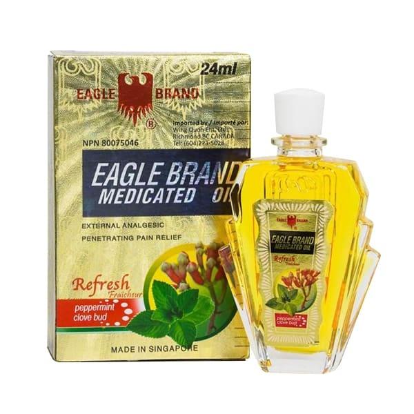 [HCM]Dầu Gió Vàng Singapore Con Ó Eagle Brand 24ml cao cấp