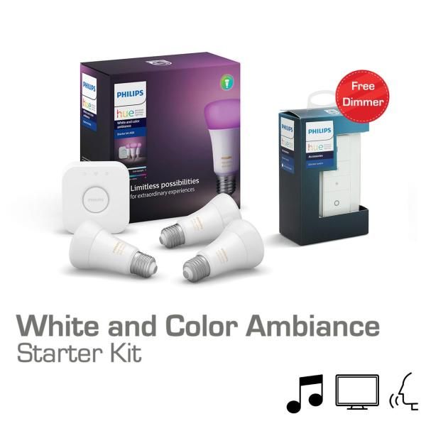Combo Philips Hue White and Color Ambiance Starter Kit E27 [Tặng 1 Philips Hue Dimmer]