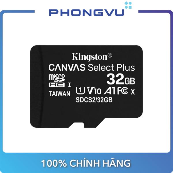 Thẻ nhớ micro SDHC Kingston 32GB Canvas Select 100R CL10 UHS-I SDCS2 32GBSP (Không Adapter) - Bảo hành 60 tháng