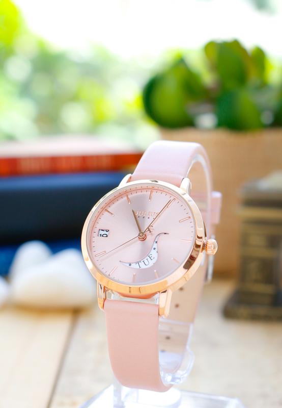Đồng hồ nữ Julius Hàn Quốc JA-1076C dây da cá tính có lịch (Hồng)