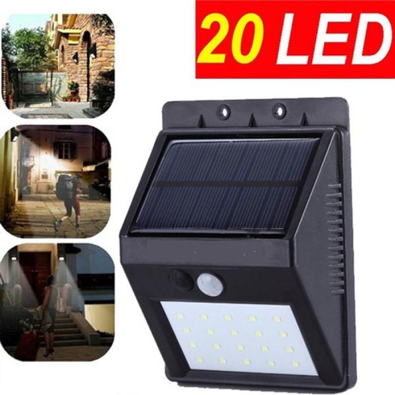 (Sale) Đèn cảm biến hồng ngoại sử dụng năng lượng mặt trời Solar 20 Led siêu sáng (Đen) thích hợp mọi thời tiết