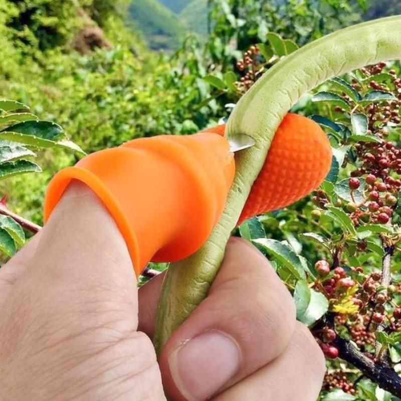 Móng tay hái rau, ngắt rau, cấu rau, nhặt rau tiện lợi gồm 1 móng sắc bén kèm 4 ngón cao su giá rẻ