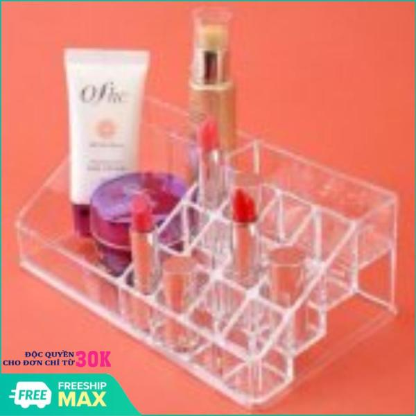 Khay đựng mỹ phẩm 16 ngăn tiện dụng - Kệ đựng son mỹ phẩm mica trong suốt cao cấp loại dày - Khay để son và dụng cụ make up đa năng giá rẻ