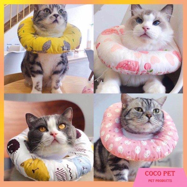 Vòng chống liếm loa đeo cổ chống liếm cho chó mèo bằng vải bông siêu nhẹ