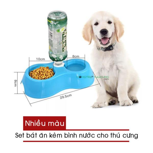 Bát Đôi - Khay Đựng Thức Ăn Kèm Máng Nước Tự Động Cho Chó Mèo (Nhiều màu) - [Nông Trại Thú Cưng]
