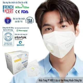 Hộp 10 Cái Khẩu Trang VN N95 PT Mask, Có Van Thở, Kháng Khuẩn, Chống Bụi Siêu Mịn PM2.5, Màu Trắng - Đạt Các Chứng Chỉ ISO 13485, ISO 9001, CE, FDA. thumbnail