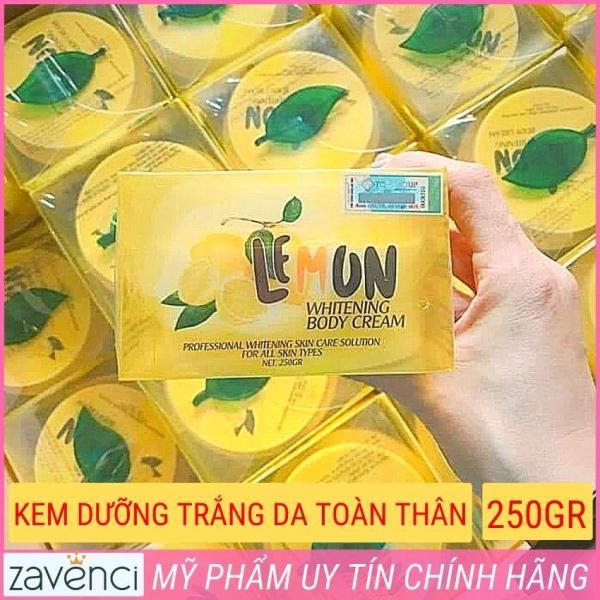 Kem body lemon chanh trắng cấp tốc sau 7 ngày loại bỏ tế bào chết thơm dịu nhẹ hương chanh Chống nắng an toàn làm sáng vùng da thâm sạm không bết rít lộ vân kem (250gram) cao cấp
