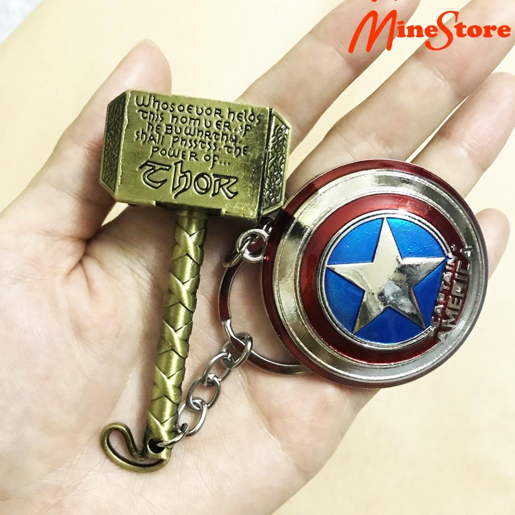 Combo 2 Móc Khóa Captain America: Khiên Captain Và Búa Thor Trong EndGame - Móc Khóa Avengers Infinity War Nhật Bản