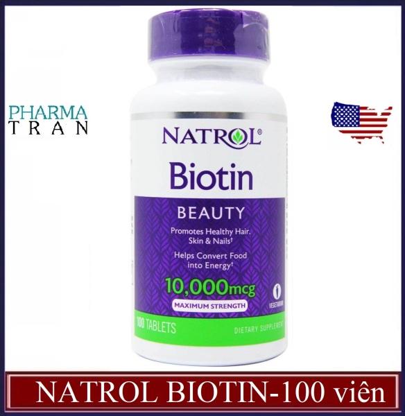 Viên uống trị rụng tóc Biotin 10000mcg của Natrol Mỹ (100 viên) - giúp mọc tóc nhanh, móng khỏe giá rẻ