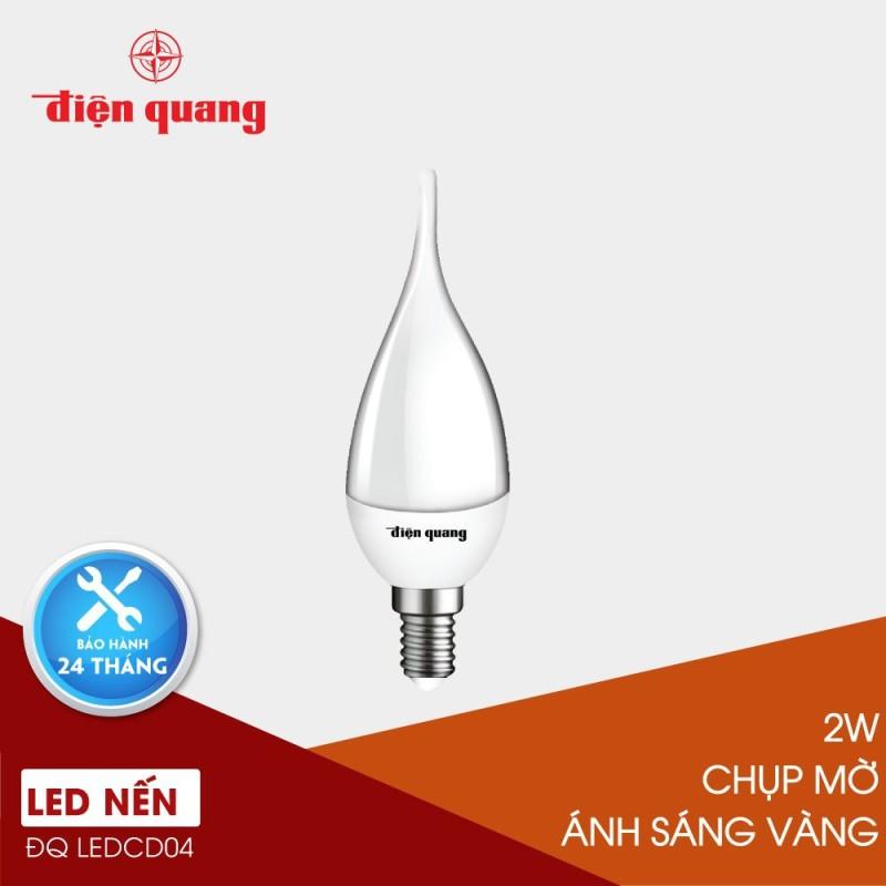 ĐÈN LED NẾN SIÊU SÁNG ĐIỆN QUANG ĐQ LEDCD04 02727 (2W warmwhite chụp mờ), đèn phòng ngủ ánh sáng dịu nhẹ như đèn cầy, trang trí nhà ấm cúng lãng mạn, tiết kiệm năng lượng điện, hàng chính hãng cao cấp bền rẻ tốt
