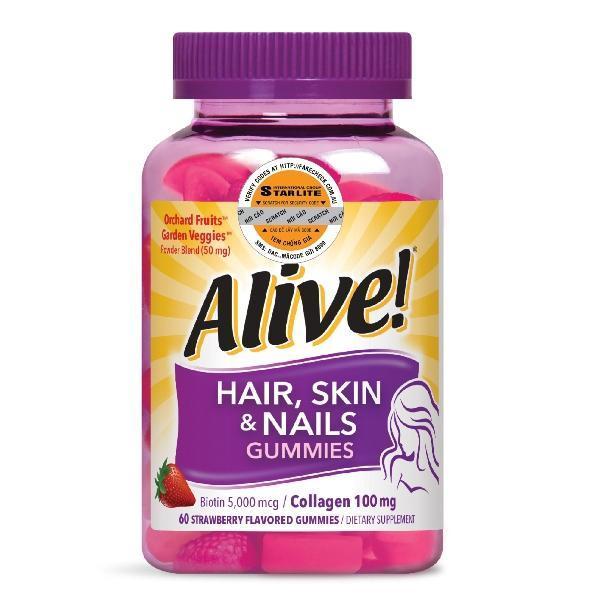 Thực phẩm bổ sung tóc da móng Natures Way Alive Hair, Skin & Nail 60 viên