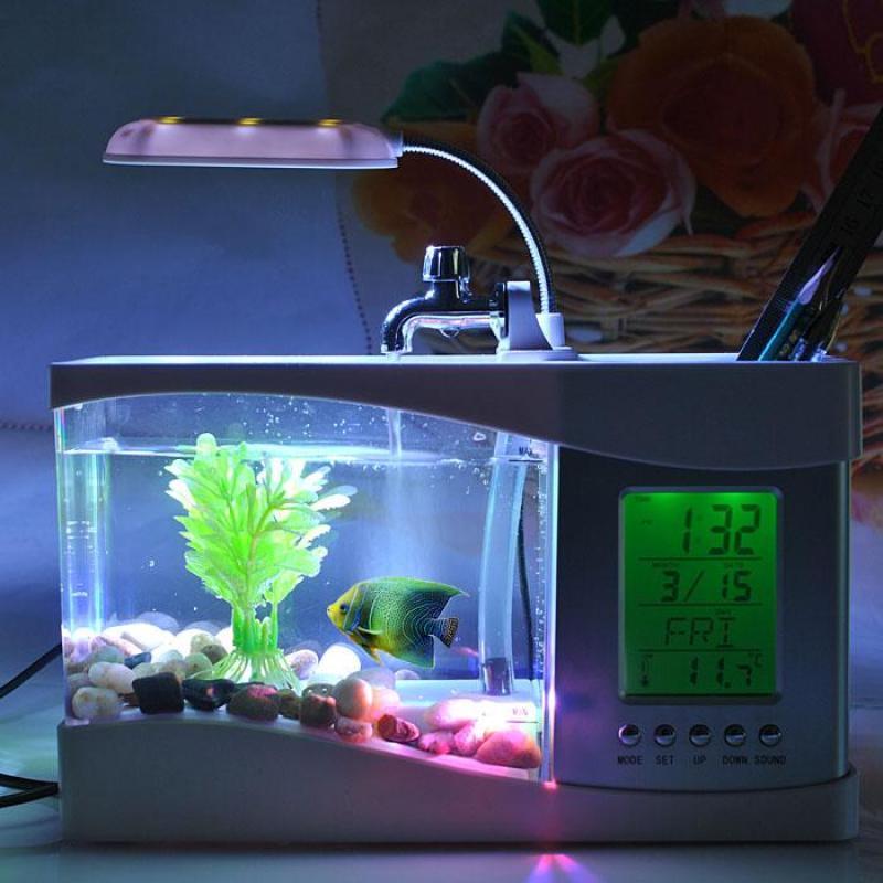 Bể cá cảnh mini để bàn, kiêm đồng hồ báo thức, đèn led tiện dụng, bảo hành uy tín 1 đổi 1