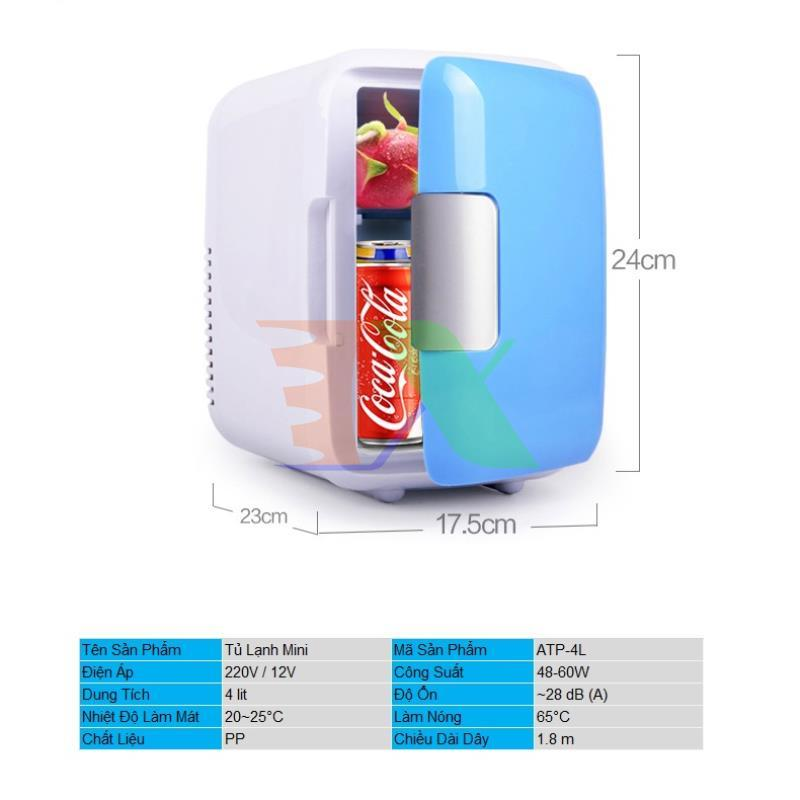 Tủ lạnh mini cho ô tô ATP-4L, Tủ lạnh cỡ nhỏ 4 lit cho xe hơi 220v / 12v 48W, Tủ lạnh cho du lịch, dã ngoại