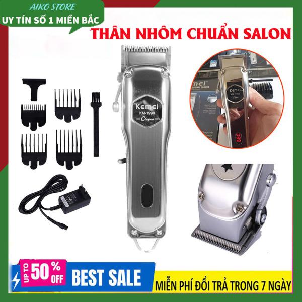 [ CHUẨN SALON] Tông đơ cắt tóc chuyên nghiệp Kemei KM_1998 có màn hình LED hiển thị thích hợp dùng fade tóc, tattoo tóc, Tăng đơ thân nhôm nguyên khối, Tăng đơ hớt tóc chuyên nghiệp không dây sạc pin giá rẻ