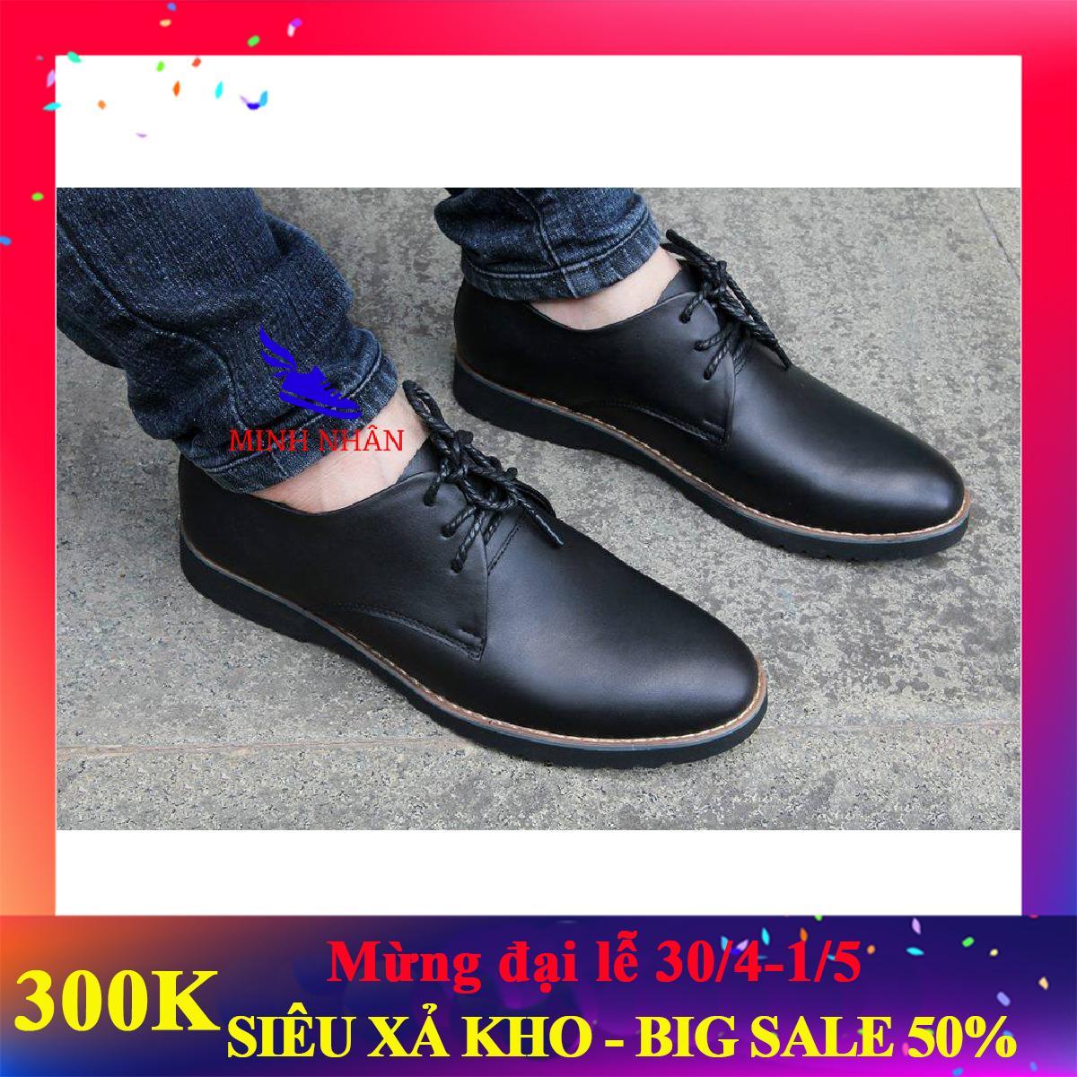 Giày tây nam công sở da bò thật, đế khâu, hàng xuất khẩu (GB-08 đen) [Minh Nhân Shop]