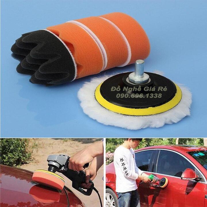 Bộ phụ kiện cho máy đánh bóng xe ô tô mini - Đĩa pad nỉ đánh bóng nhựa 7 món