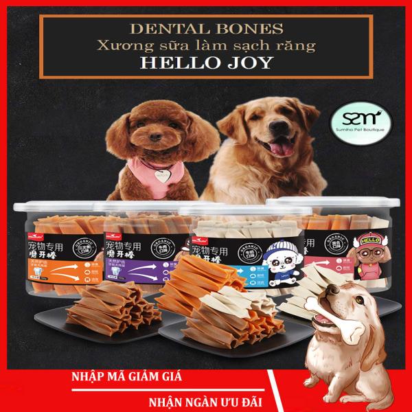 Xương gặm sạch răng Hello Joy mix 3 vị (Bò/cá/sữa) (150gr/hộp) Bánh thưởng cho chó mèo thú cưng