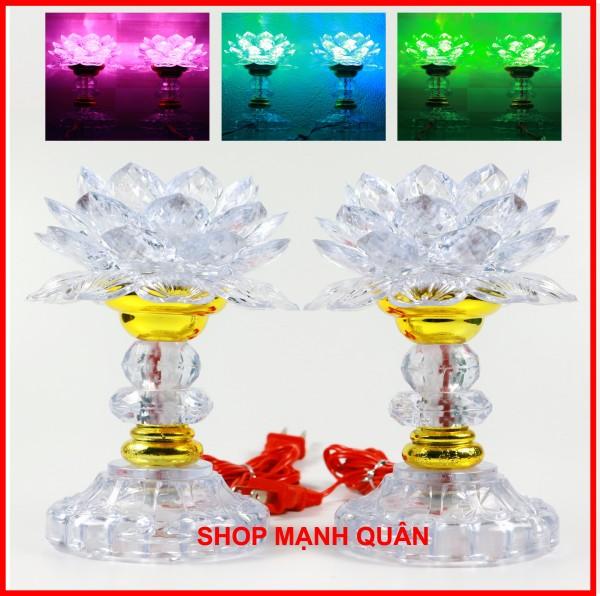 Bảng giá Bộ 2 đèn thờ cúng hoa sen đổi 7 màu ( Hàng loại 1 ), đèn để bàn thờ, đèn hoa sen | Mạnh Quân Shop
