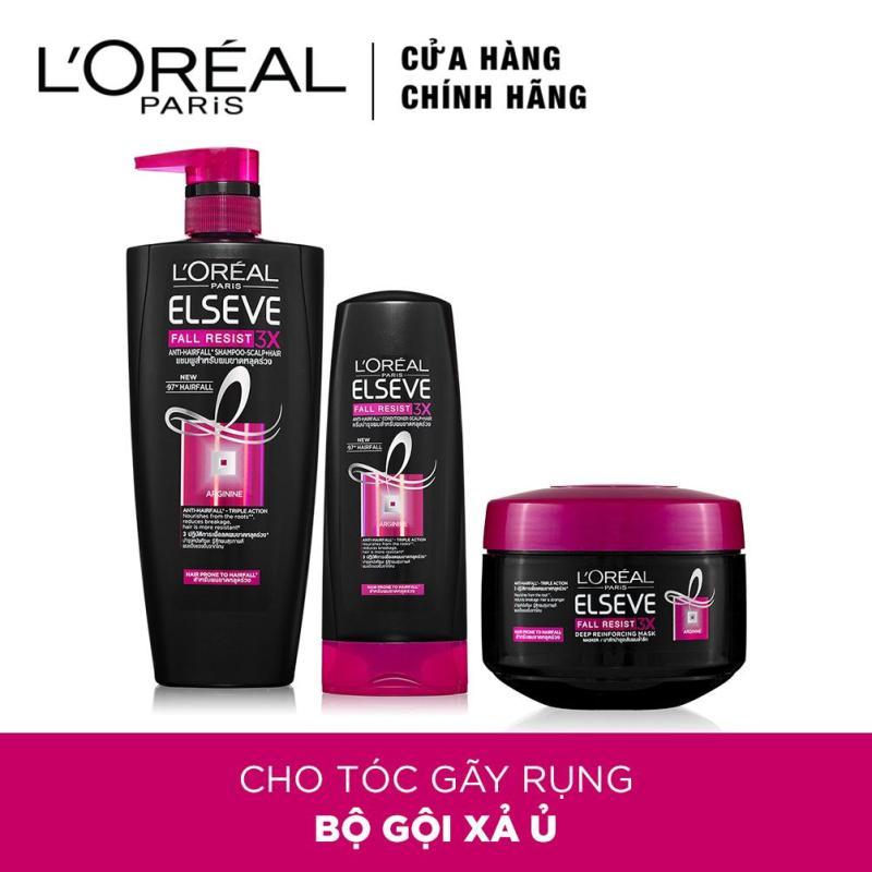 Bộ sản phẩm chăm sóc ngăn rụng tóc LOreal Paris Elseve Fall Resist 3x (Gội 650ml, Xả 165ml, Ủ 200ml) giá rẻ