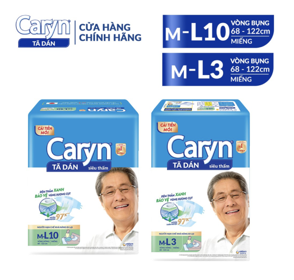 Tã - bỉm dán Caryn size ML 3 Miếng/10 Miếng dành cho người hạn chế khả năng đi lại (người già/ mẹ bầu sau sinh)