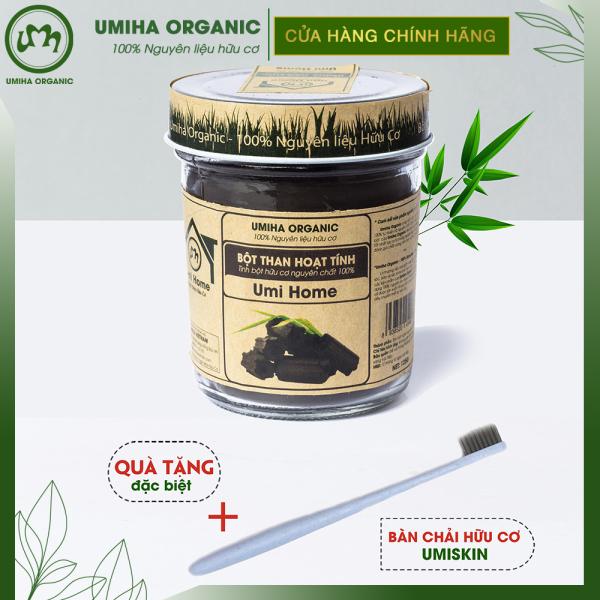 Bột Than Hoạt Tính hữu cơ Umihome 125g nguyên chất làm trắng răng tự nhiên loại bỏ mảng bám cao răng hiệu quả tại nhà