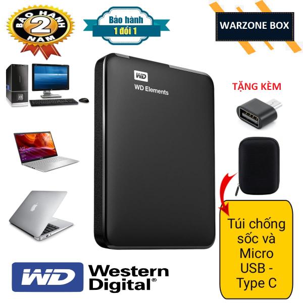 Bảng giá Ổ CỨNG DI ĐỘNG WD ELEMENTS 250GB/320GB/500GB/750GB/1TB - TẶNG TÚI CHỐNG SỐC VÀ TYPE C MICRO USB KẾT NỐI ĐT ANDROIRD - BẢO HÀNH 24 THÁNG 1 ĐỔI 1 Phong Vũ