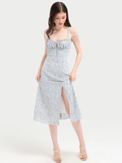 RECHIC Đầm Lanis Họa Tiết Hoa Nhí Xanh Dây Cúp Ngực Nhún Bèo Nhẹ Nhàng Dễ Thương thumbnail