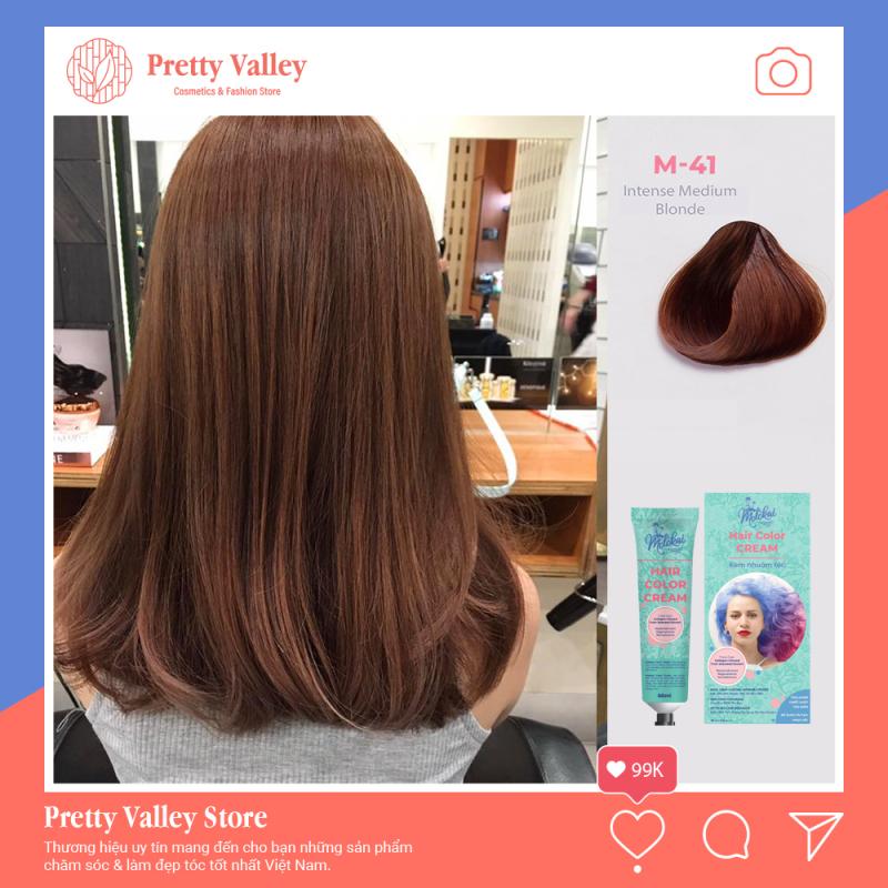 Kem nhuộm tóc cao cấp màu nâu tây Molokai 60ml [ TẶNG KÈM GĂNG TAY + CHAI OXY TRỢ DƯỠNG TÓC ] giá rẻ
