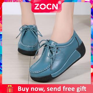 Giày Đế Bằng ZOCN Mới Dành Cho Nữ Giày Lười Nữ Phiên Bản Hàn Quốc Chống Trượt Giày Muffin Tăng Độ Thoải Mái Thoải Mái Giày Đế Xuồng Có Dây Buộc Bằng Da Cho Nữ Giày Ngoại Cỡ 35-41