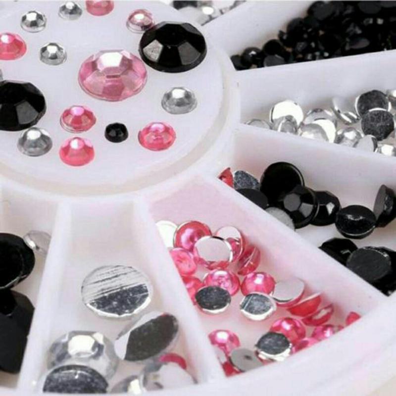 Đá nhựa trang trí móng 3 màu (trắng, đen, hồng) nhập khẩu