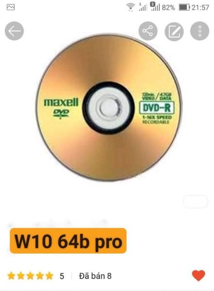 Bảng giá DVD cài W10 64b dùng vĩnh viễn Phong Vũ