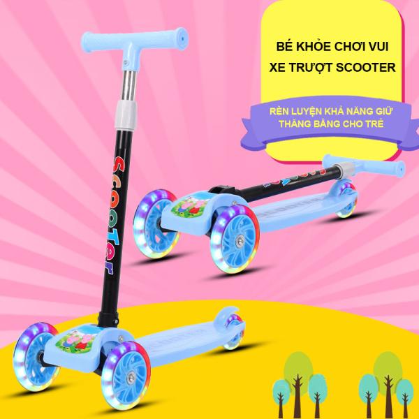 Mua Xe trượt scooter gấp gọn mẫu mới, xe trượt cho trẻ 2-8 tuổi, 3 bánh,bánh xe có đèn phát sáng, xe trượt, xe tập đi trẻ em