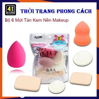 Set 6 Mút Tán Kem Nền Makeup - Bông mút trang điểm tán kem nền phấn phủ Keli 6 miếng thumbnail