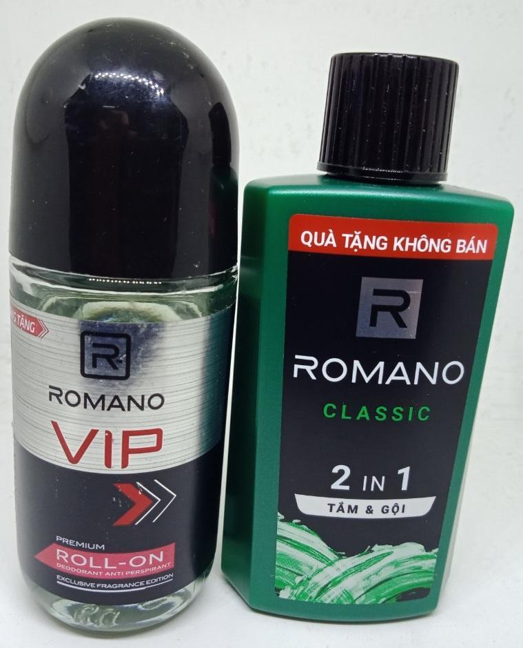 Combo ; 1 Tắm Gội  60g  Hương Nước Hoa Romano 2 in 1 ./  1 lăn Khử Mùi Romano 40ml Hàng Tặng