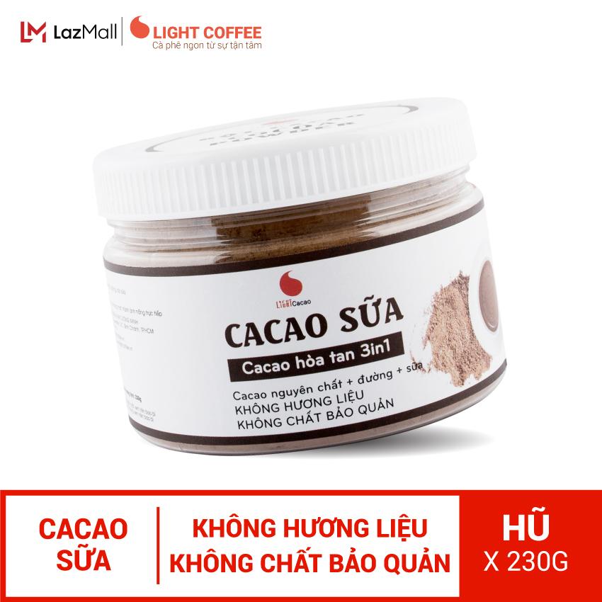 Bột cacao sữa hòa tan 3 in 1 Light Cacao đậm đà thơm ngon , đặc biệt không pha trộn hương liệu ,pha liền uống ngay - hộp 230G