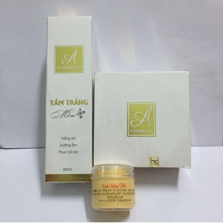 Combo tắm trắng và kem body mềm A Cosmetics tặng kèm kích trắng x6 cao cấp