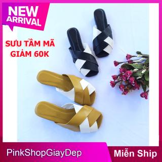 (Miễn ship và giảm 60k) Dép sục nữ PinkShopGiayDep đế vuông 2 phân chất liệu da mềm SC thumbnail