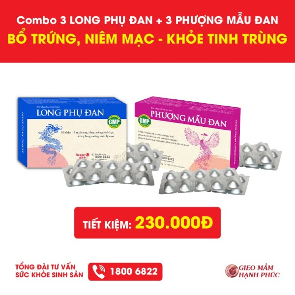 Combo 3 Phượng Mẫu Đan + 3 Long Phụ Đan Bổ Trứng Niêm Mạc, Khỏe Tinh Trùng