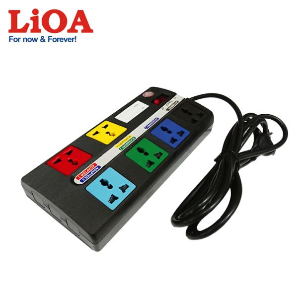Ổ cắm kéo dài đa năng LiOA Super - Loại 6 Ổ cắm, 1 Công tắc - 6D-S3-2