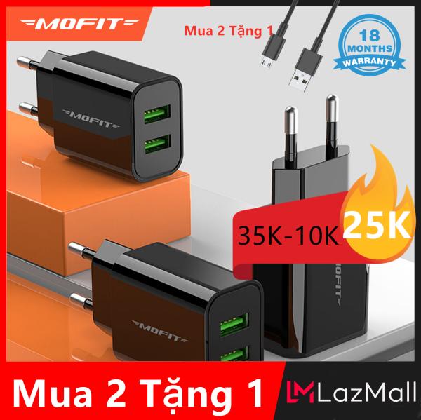 【Mua 2 Tặng 1】MOFIT MF20 - Bộ chuyển đổi sạc tường USB kép Sạc nhanh 2.4A