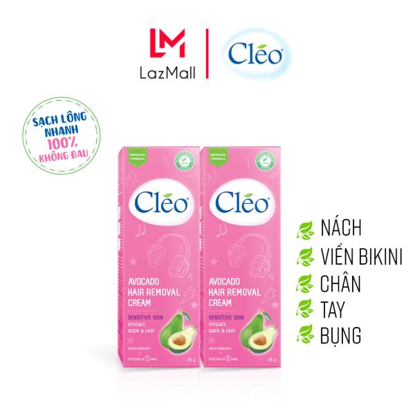 Combo 2 Hộp Kem Tẩy Lông Chiết Xuất Bơ Cho Da Nhạy Cảm Cleo Avocado Hair Removal Cream Sensitive Skin 25gx2, an toàn, không đau và đạt hiệu quả nhanh chóng