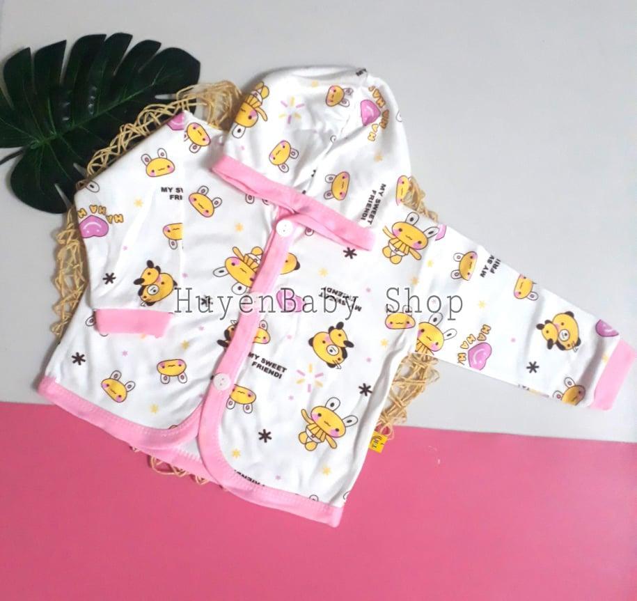 Áo khoác họa tiết tay dài có mũ, dễ thương cho bé trai, bé gái từ sơ sinh đến 11,5kg Nhật Bản