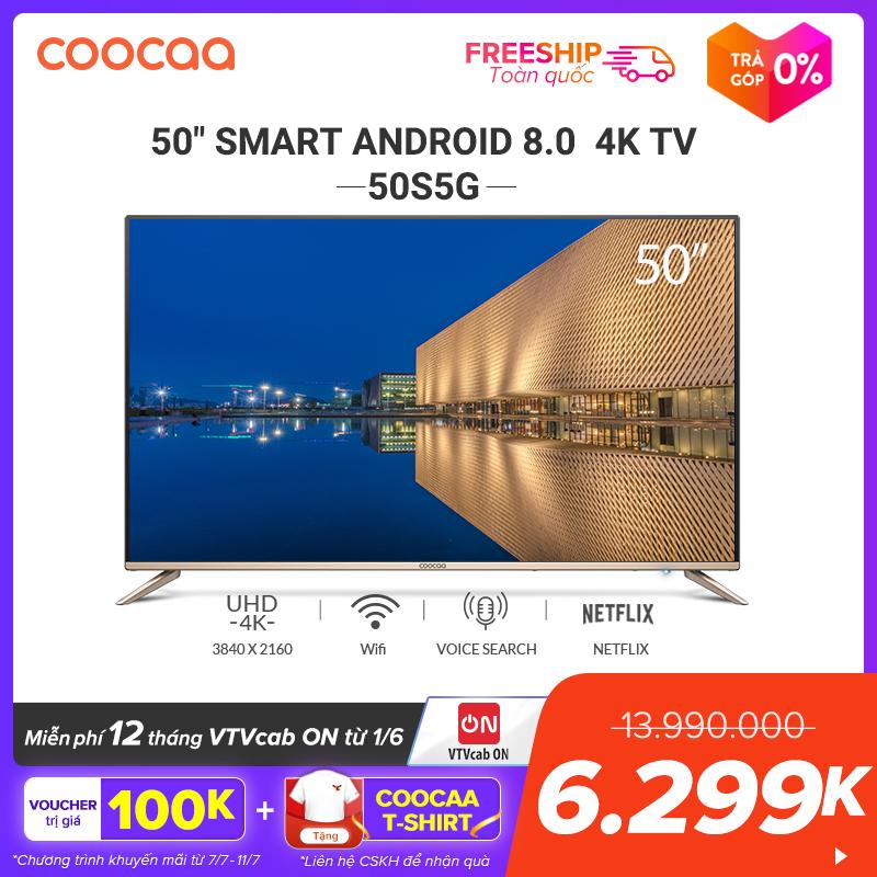 Offer Khuyến Mại SMART TV 4K UHD Coocaa 50 Inch - Android TV - Wifi - Viền Mỏng - Model 50S5G (Vàng) - 49 Tivi Giá Rẻ Chân Viền Kim Loại