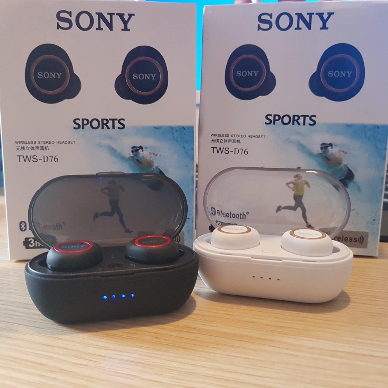 Mã Khuyến Mãi Khi Mua Tai Nghe Bluetooth Sony TWS D76 Cao Cấp Kiểu Airpod 2 Tai Có Dock Sạc