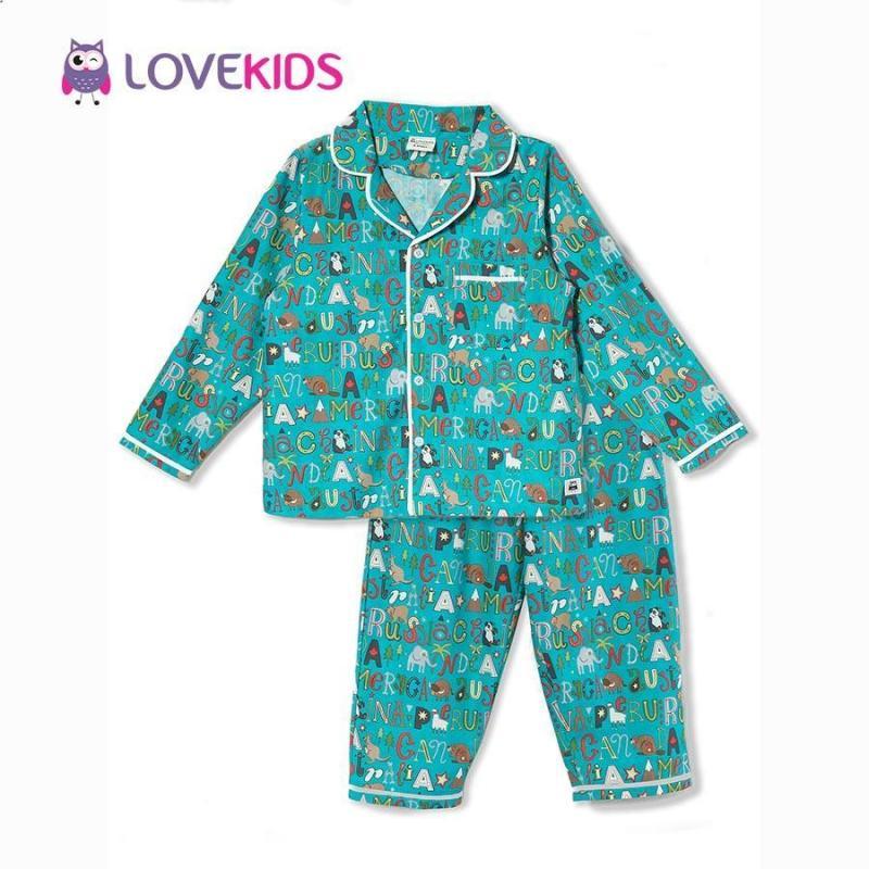 Nơi bán Bộ mặc nhà bé gái - chữ xanh Lovekids