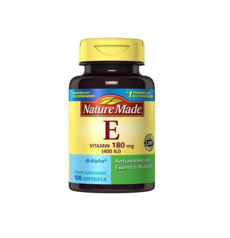Nature Made Vitamin E 180mg 400IU 100 viên làm đẹp da, chống oxy hóa cao cấp