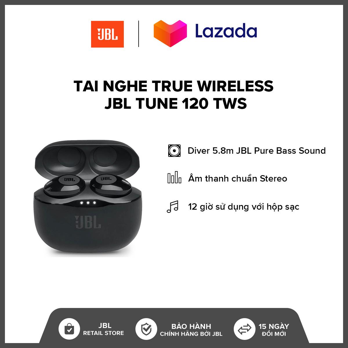 [HÀNG CHÍNH HÃNG] Tai Nghe True Wireless JBL Tune 120 TWS l JBL Pure Bass Sound l  Driver 5.8mm l 16h phát nhạc l  Trợ lý áo Siri/ Google Assistant