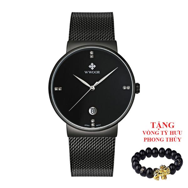 Đồng hồ nam WWOOR 8018 máy mỏng dây lưới (Đen) + Tặng vòng tỳ hưu